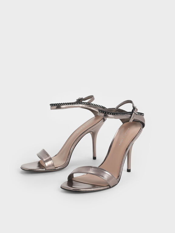 Gem Embellished Ankle Strap Metallic Heeled Sandals, Pewter, hi-res