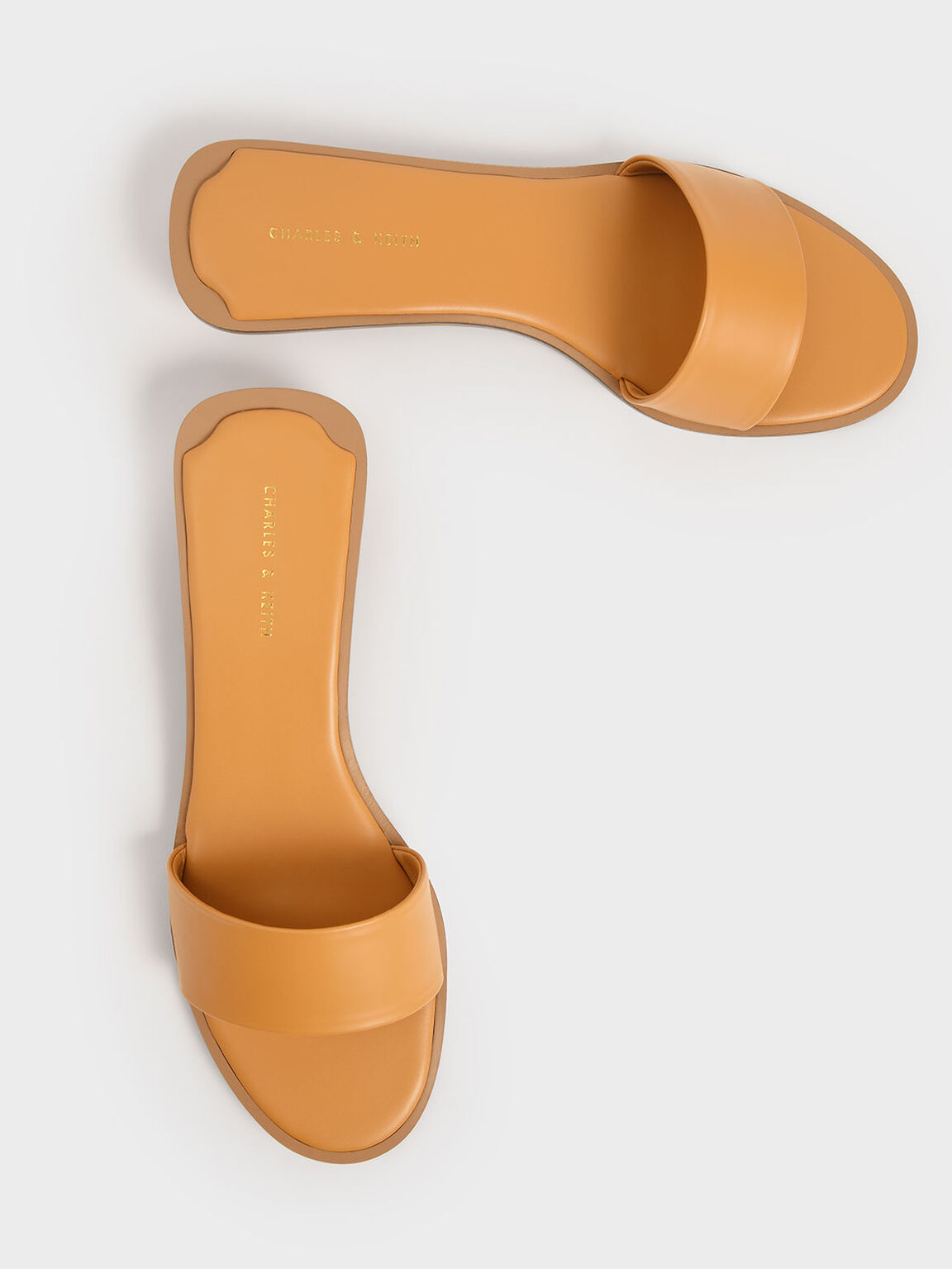 Two-Tone Slide Sandals, Mustard, hi-res