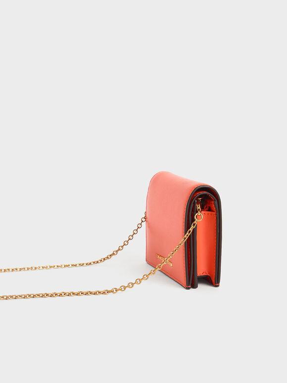 子母扣摺疊短夾, 橘色, hi-res