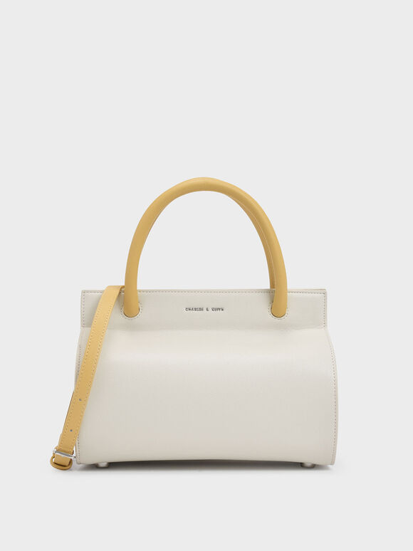 Two-Tone Double Top Handle Structured Bag, White, hi-res