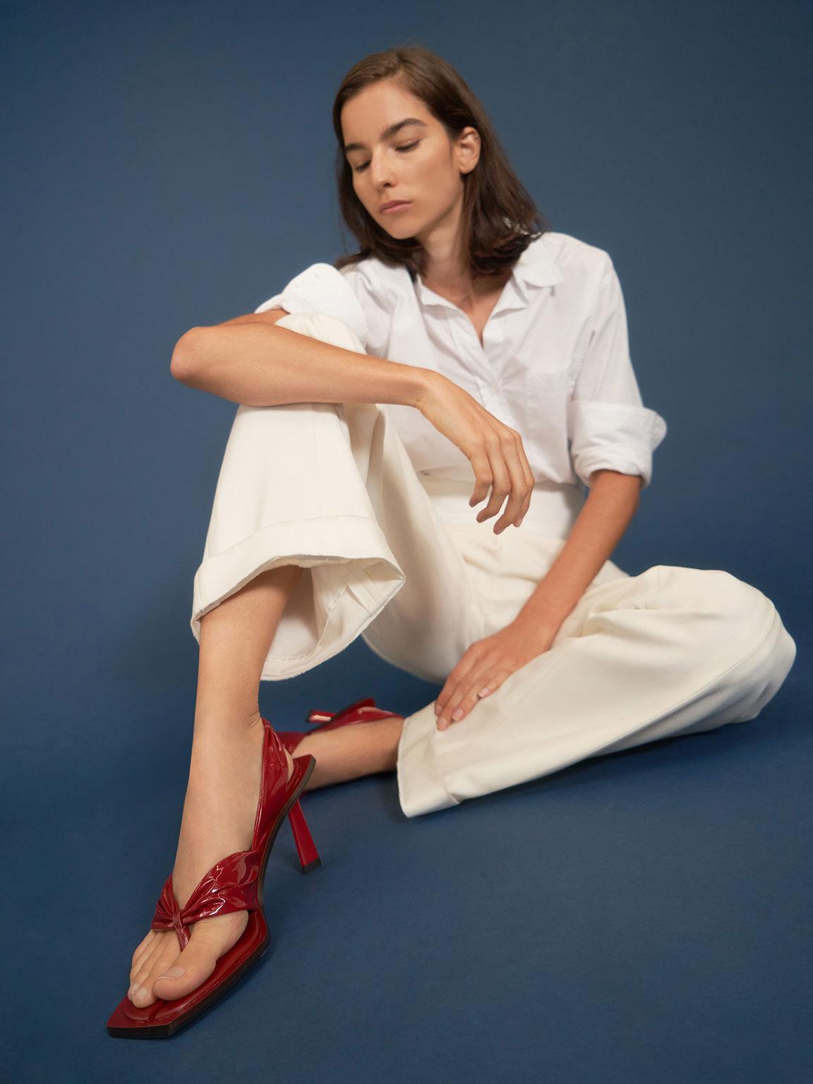 特別限定款:抓皺漆面夾腳涼鞋, 紅色, hi-res