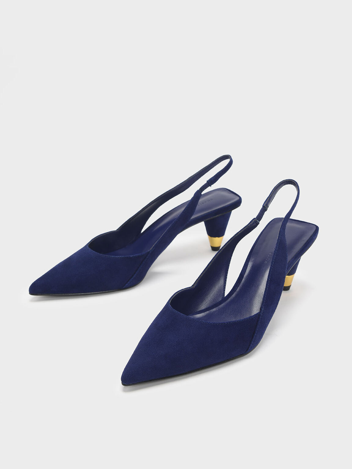 Gold Accent Cone Heel Slingbacks, Blue, hi-res