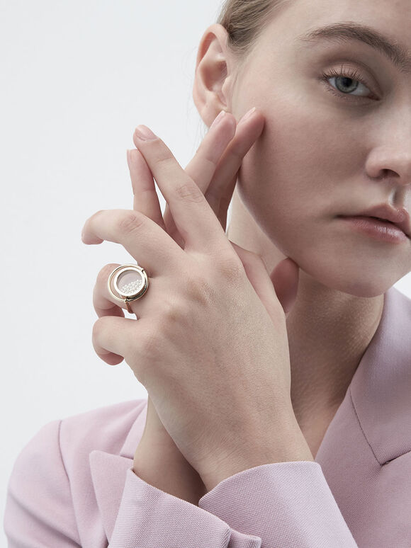 Pearl Finish Stone Floating Locket Ring, Pearl, hi-res