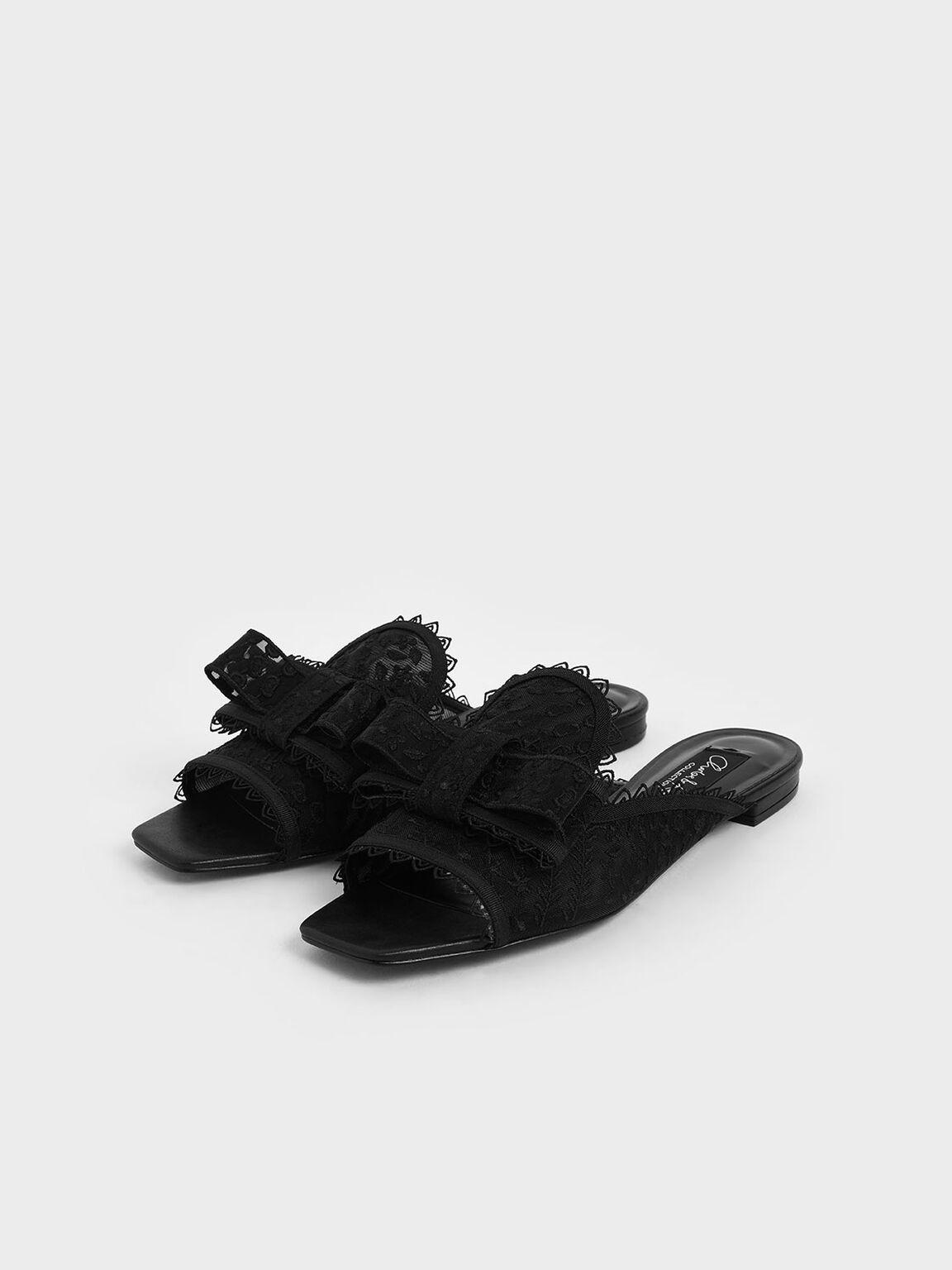 Floral Embroidered Mesh Slide Sandals, Black, hi-res