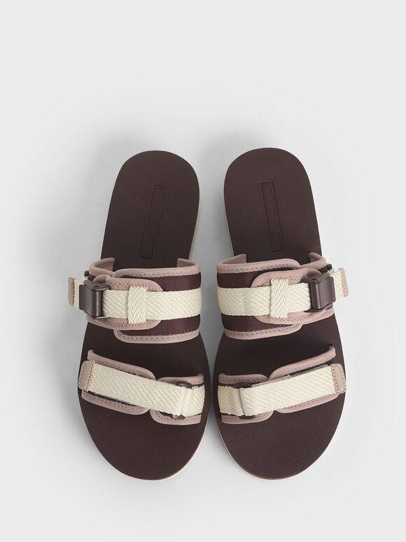 Velcro Strap Flatforms, Burgundy, hi-res