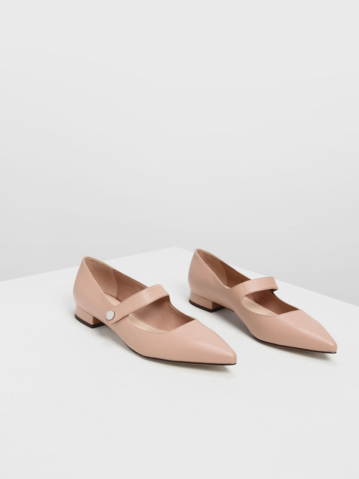 Pointed Toe Mary Janes, Nude, hi-res