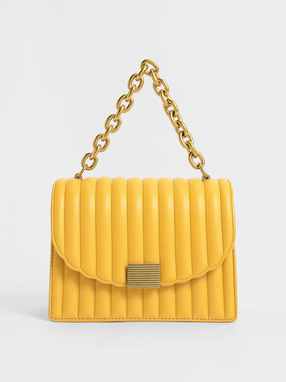 Panelled Chain Handle Bag, Mustard, hi-res