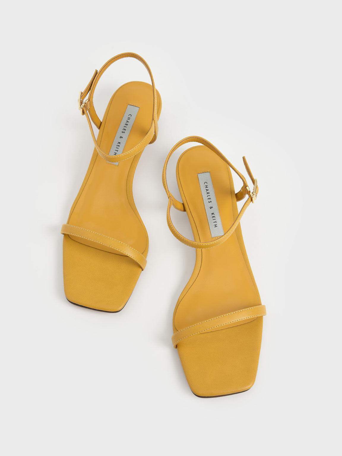 Sculptural Heel Ankle Strap Sandals, Mustard, hi-res