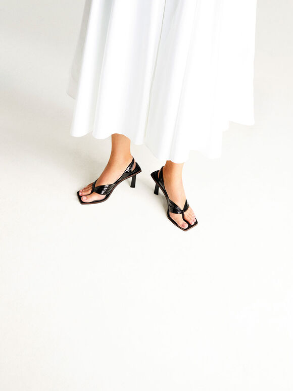 Limited Edition: Patent Slingback Thong Sandals, Black, hi-res