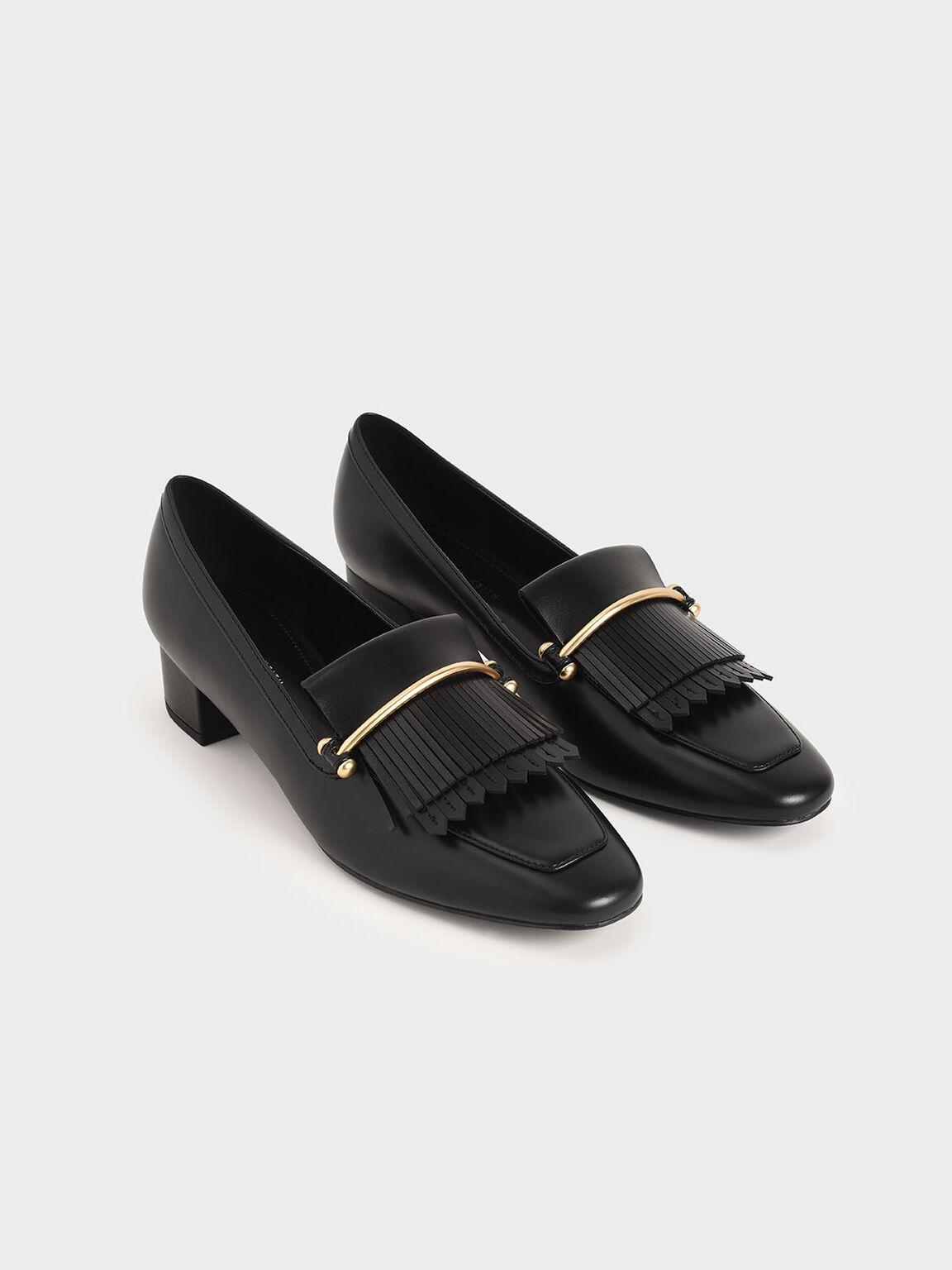 Fringe Loafers, Black, hi-res