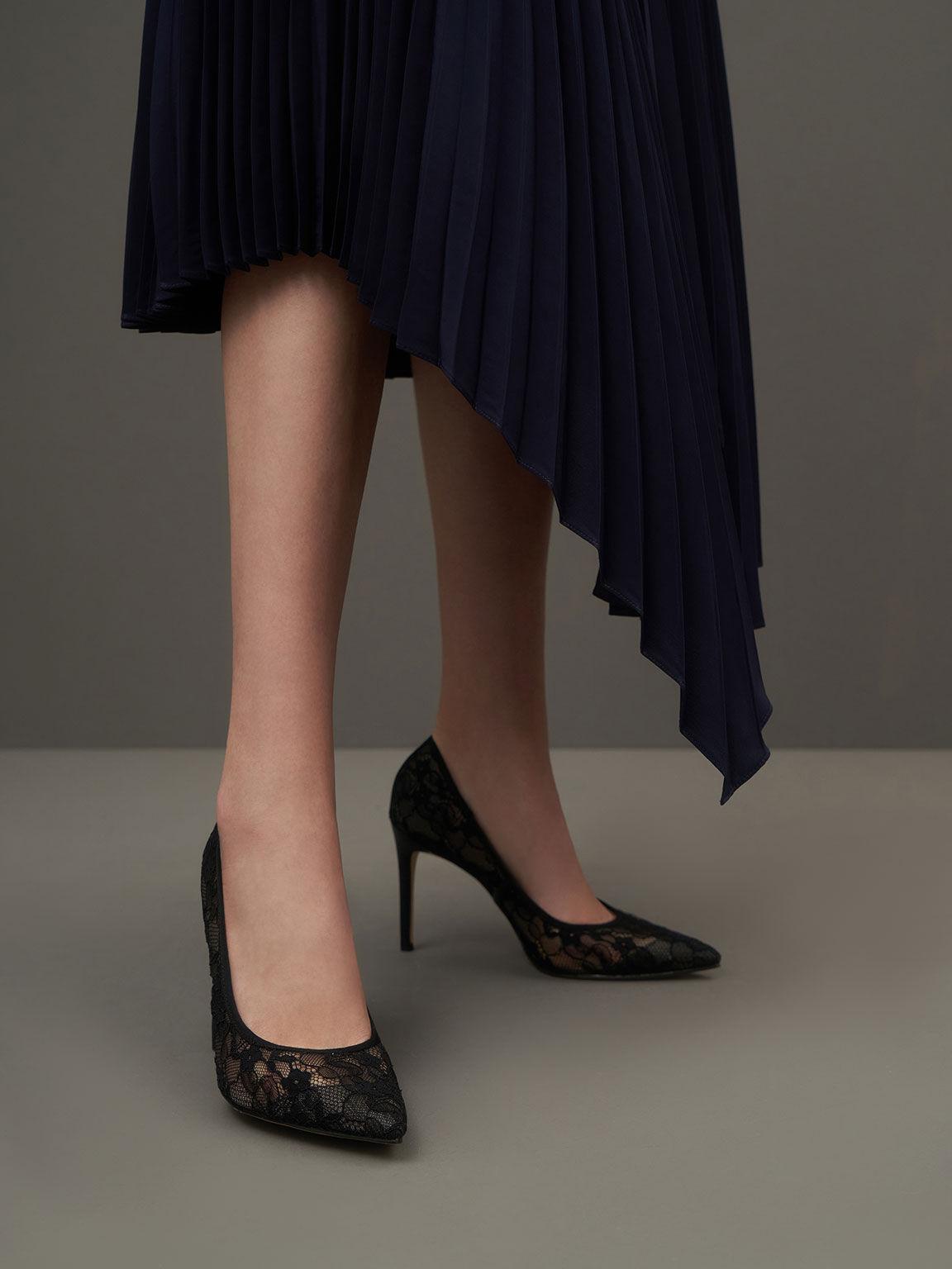 蕾絲尖頭高跟鞋, 黑色, hi-res