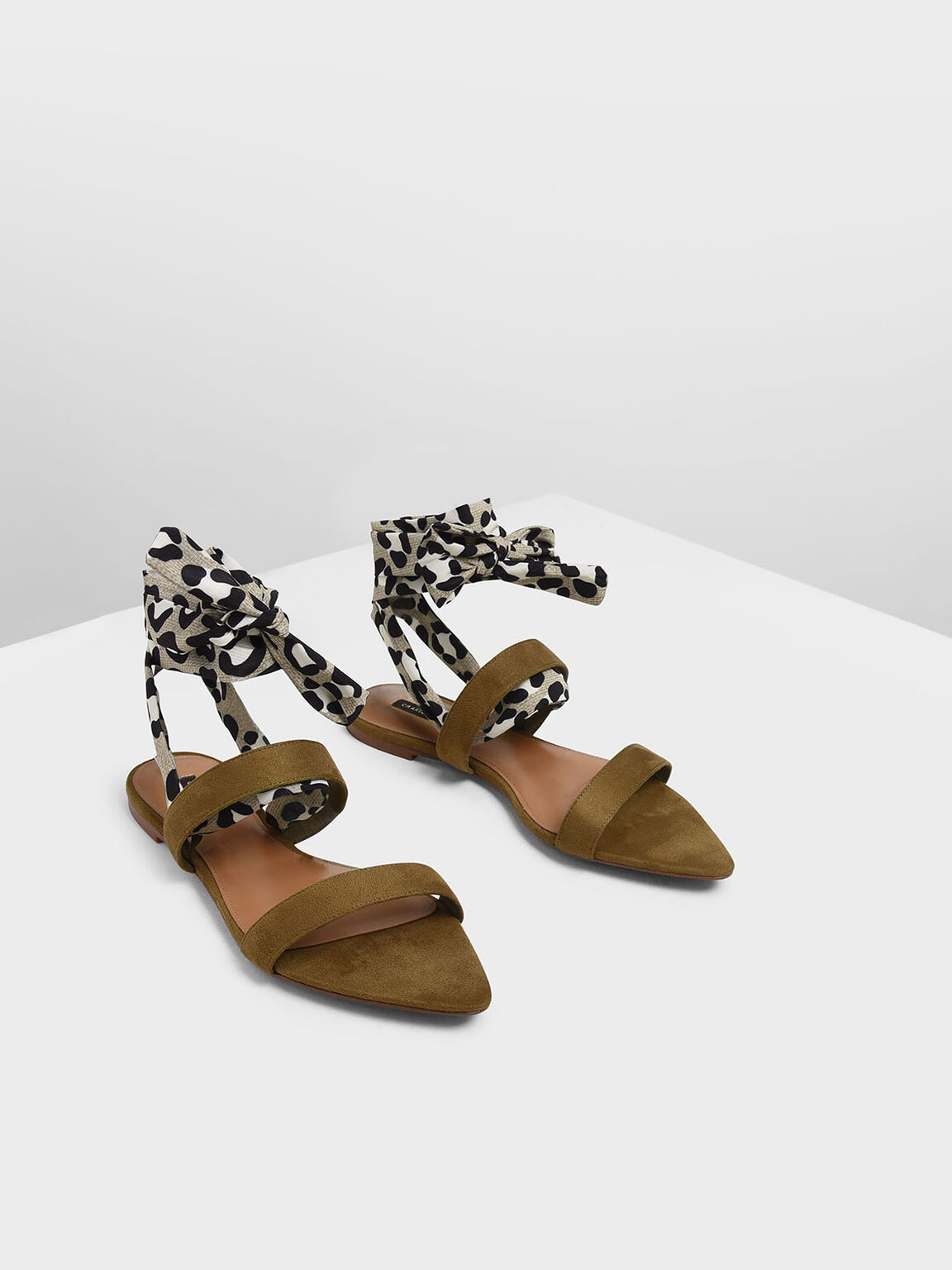 Leopard Print Ankle Wrap Sandals, Olive, hi-res