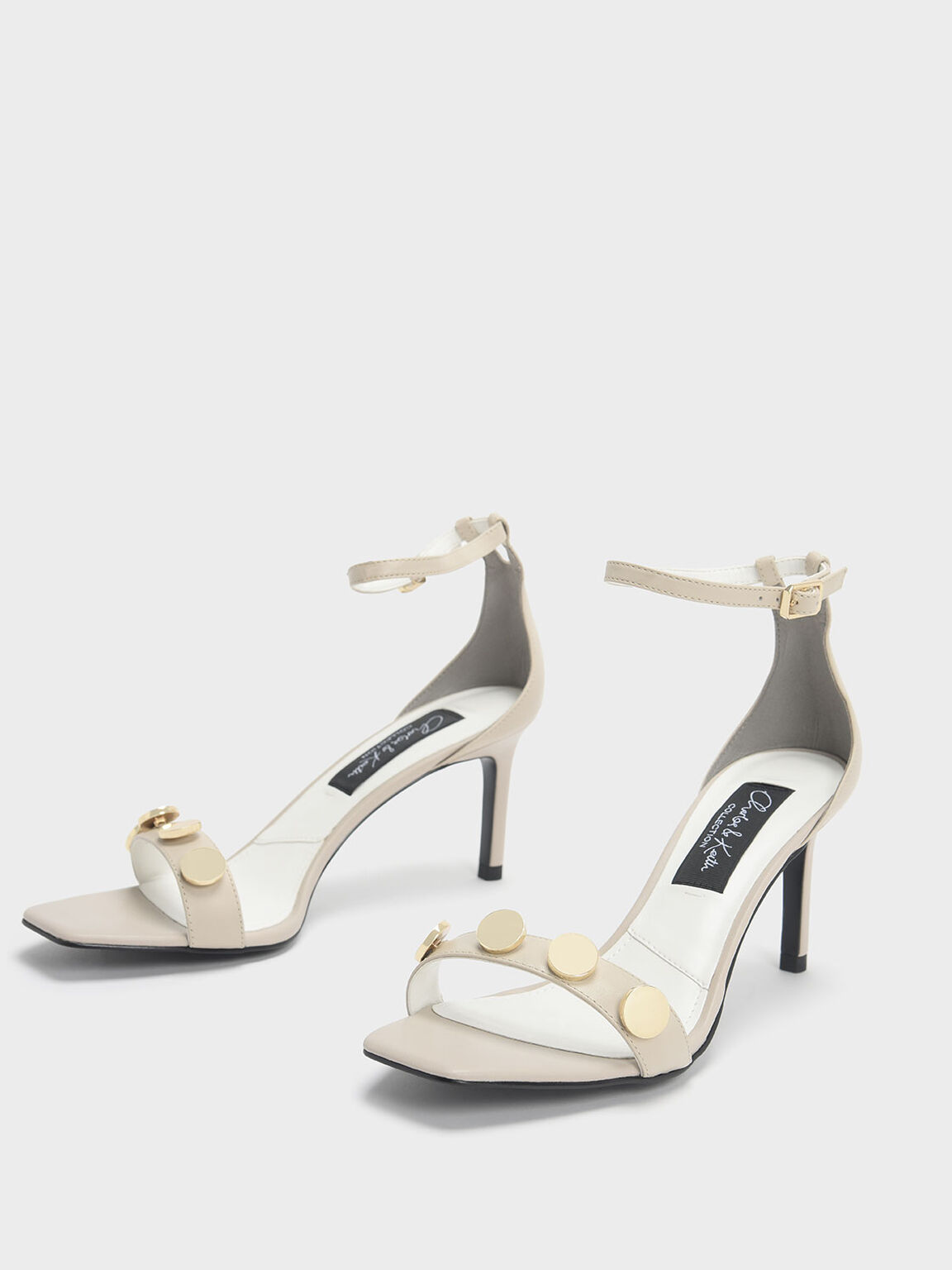 Chrome Button Detail Leather Stiletto Sandals, Chalk, hi-res