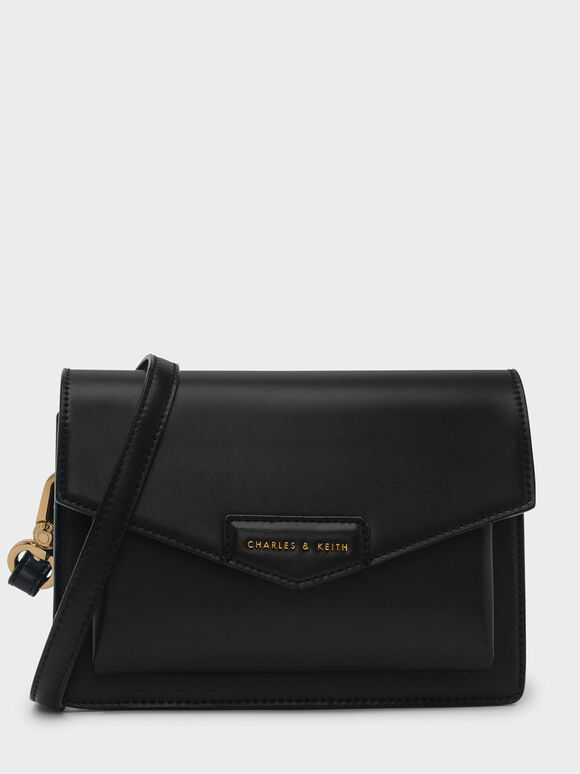 Envelope Satchel, Black, hi-res