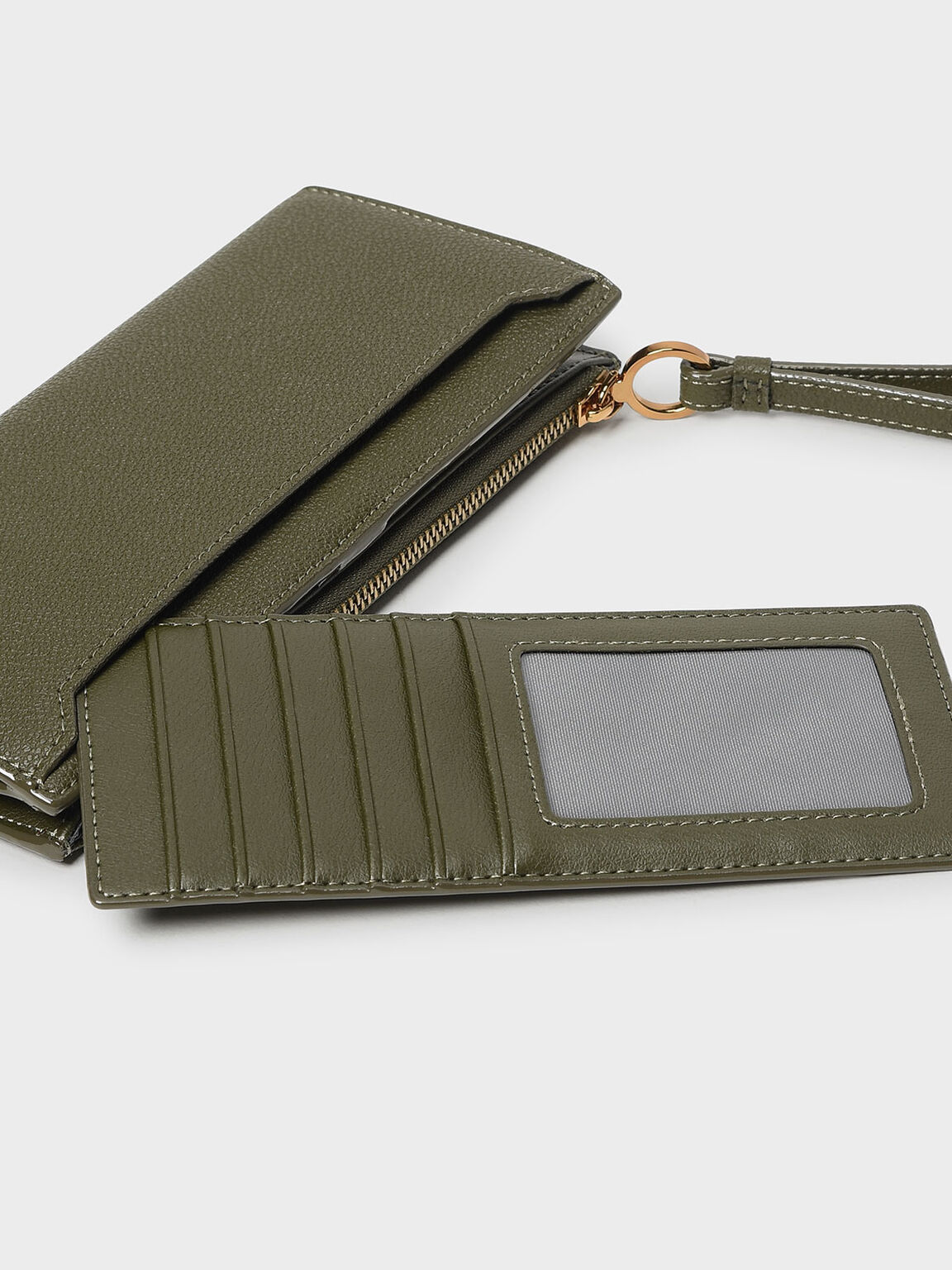 Wristlet Handle Wallet, Olive, hi-res
