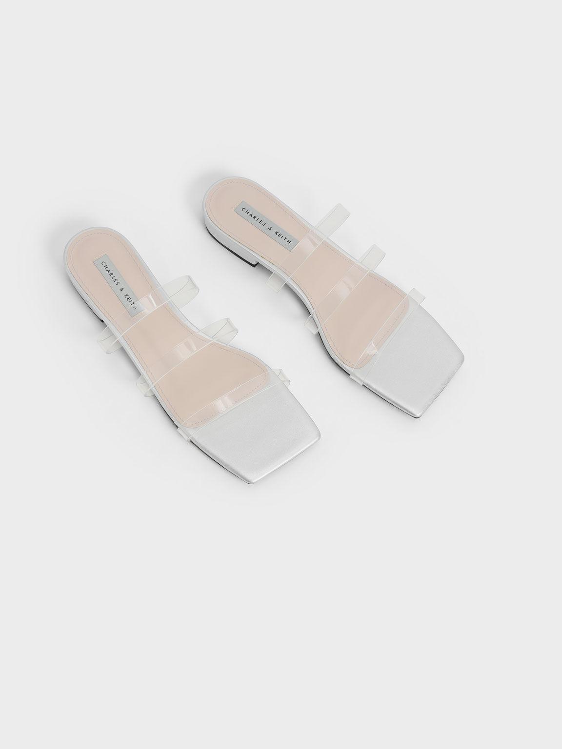 Clear Strap Slide Sandals, Silver, hi-res