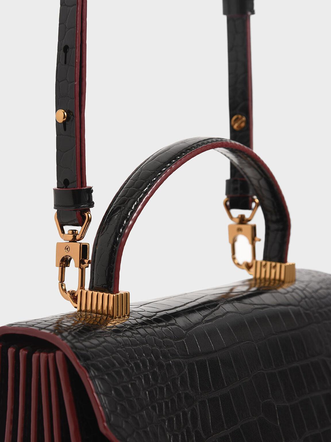 Croc-Effect Top Handle Bag, Black, hi-res