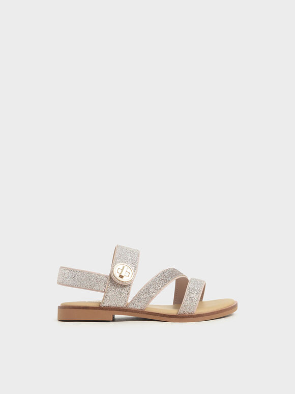 Girls' Glittered Metallic Buckle Sandals, Silver, hi-res