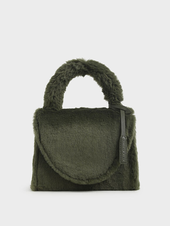 Textured Structured Bag, Olive, hi-res