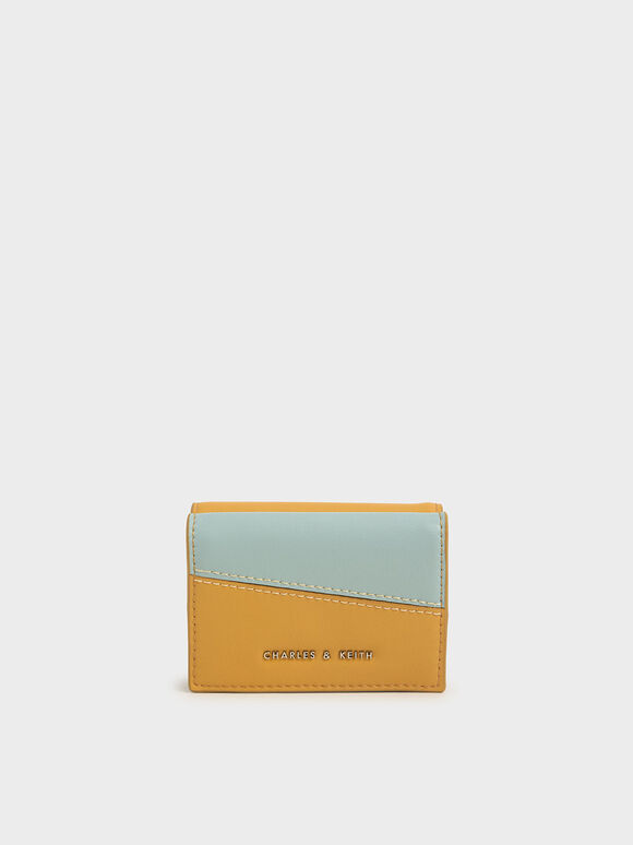 Two-Tone Stitch-Trim Wallet, Yellow, hi-res