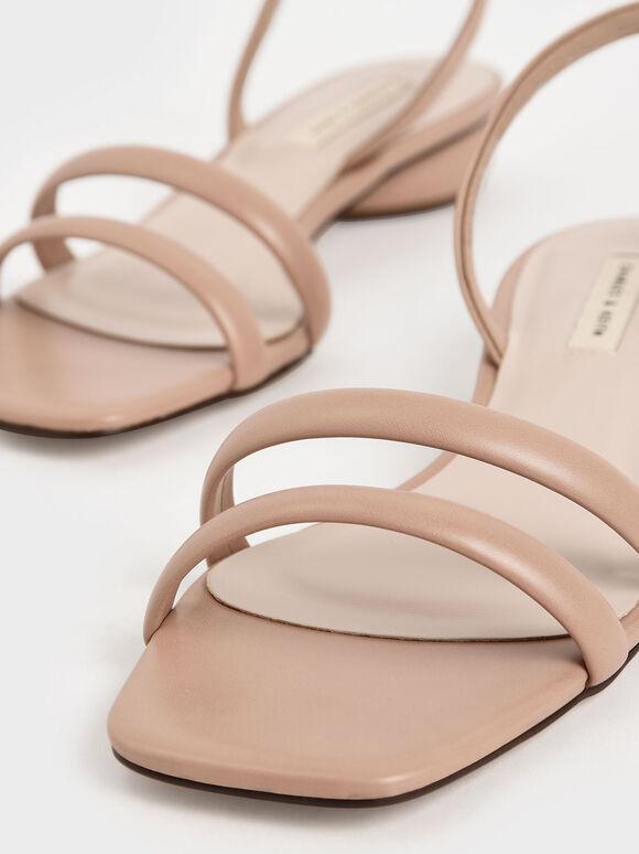 Tubular Slingback Sandals, Nude, hi-res