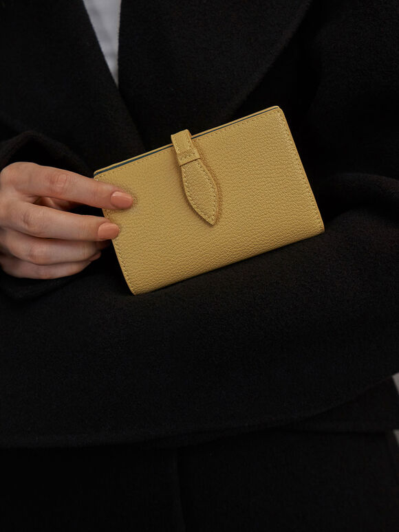Snap Button Fold Wallet, Yellow, hi-res