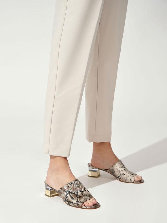 蛇紋粗跟穆勒鞋, 混色, hi-res