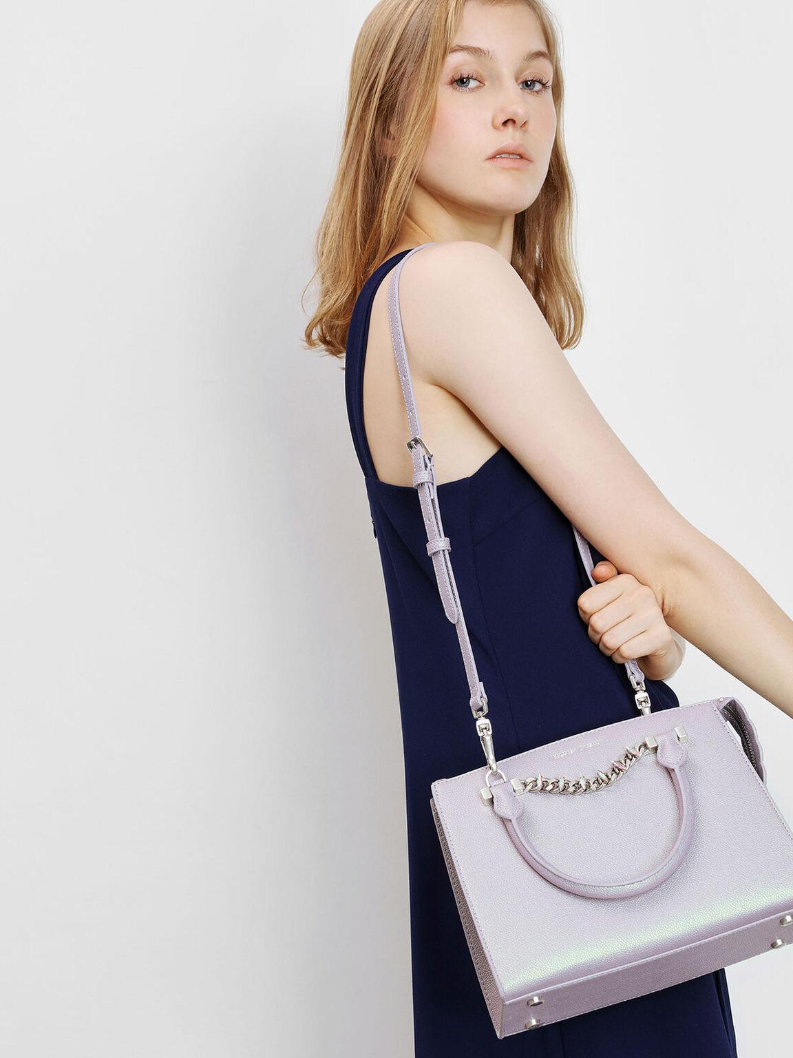 Chain Detail Handbag, Peacock, hi-res