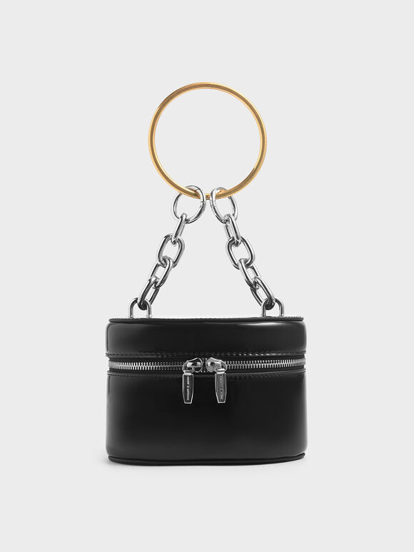 Patent Bracelet Round Bag, Black, hi-res