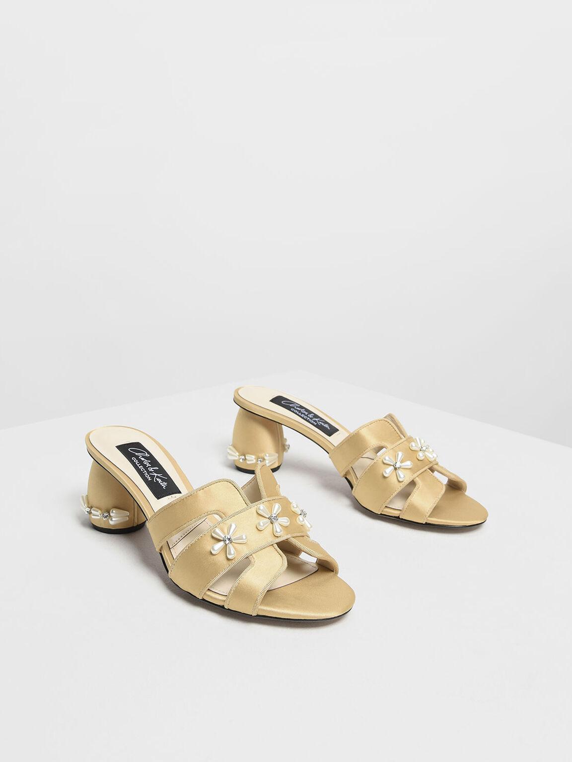 Pearl Embellished Satin Heeled Slide Sandals, Beige, hi-res