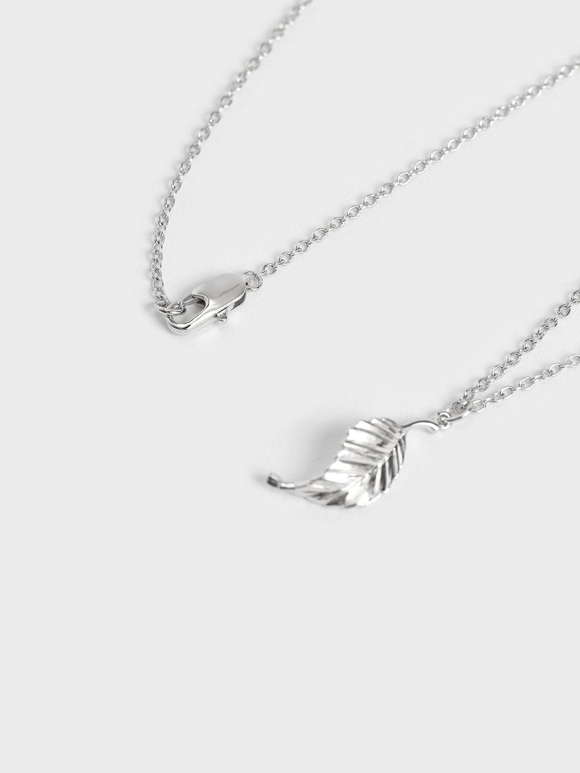 Leaf Pendant Bead Necklace, Silver, hi-res