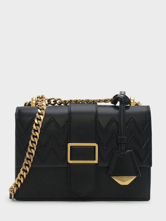 Front Flap Chain Strap Crossbody Bag, Black, hi-res