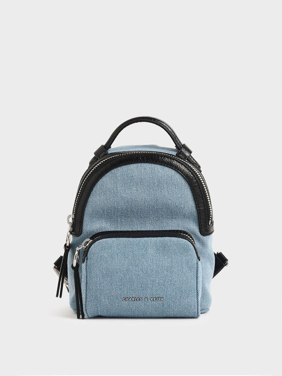 Mini Denim Double Zip Backpack, Denim Blue, hi-res