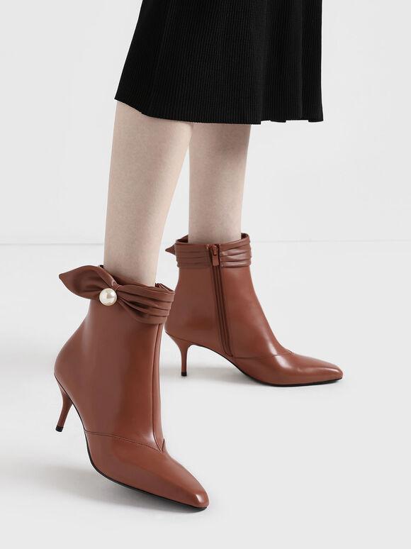 Ruched Embellished Ankle Boots, Brick, hi-res