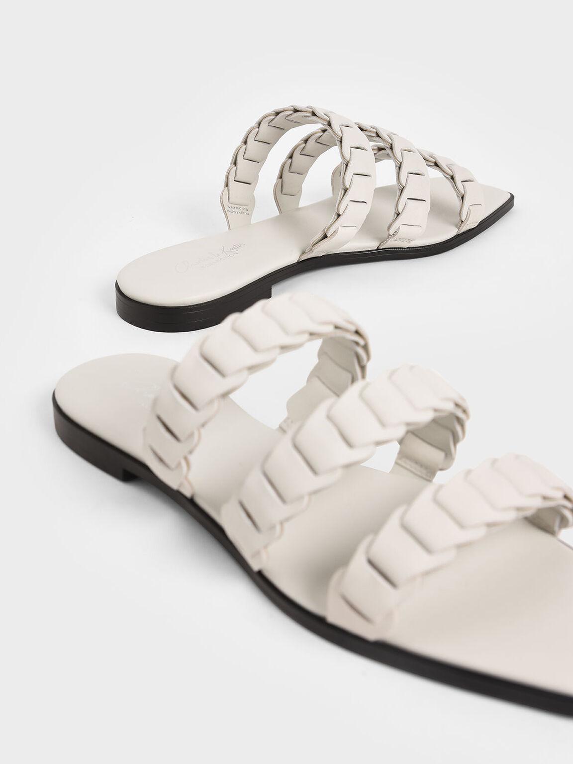 Leather Pleated Strap Slide Sandals, Chalk, hi-res