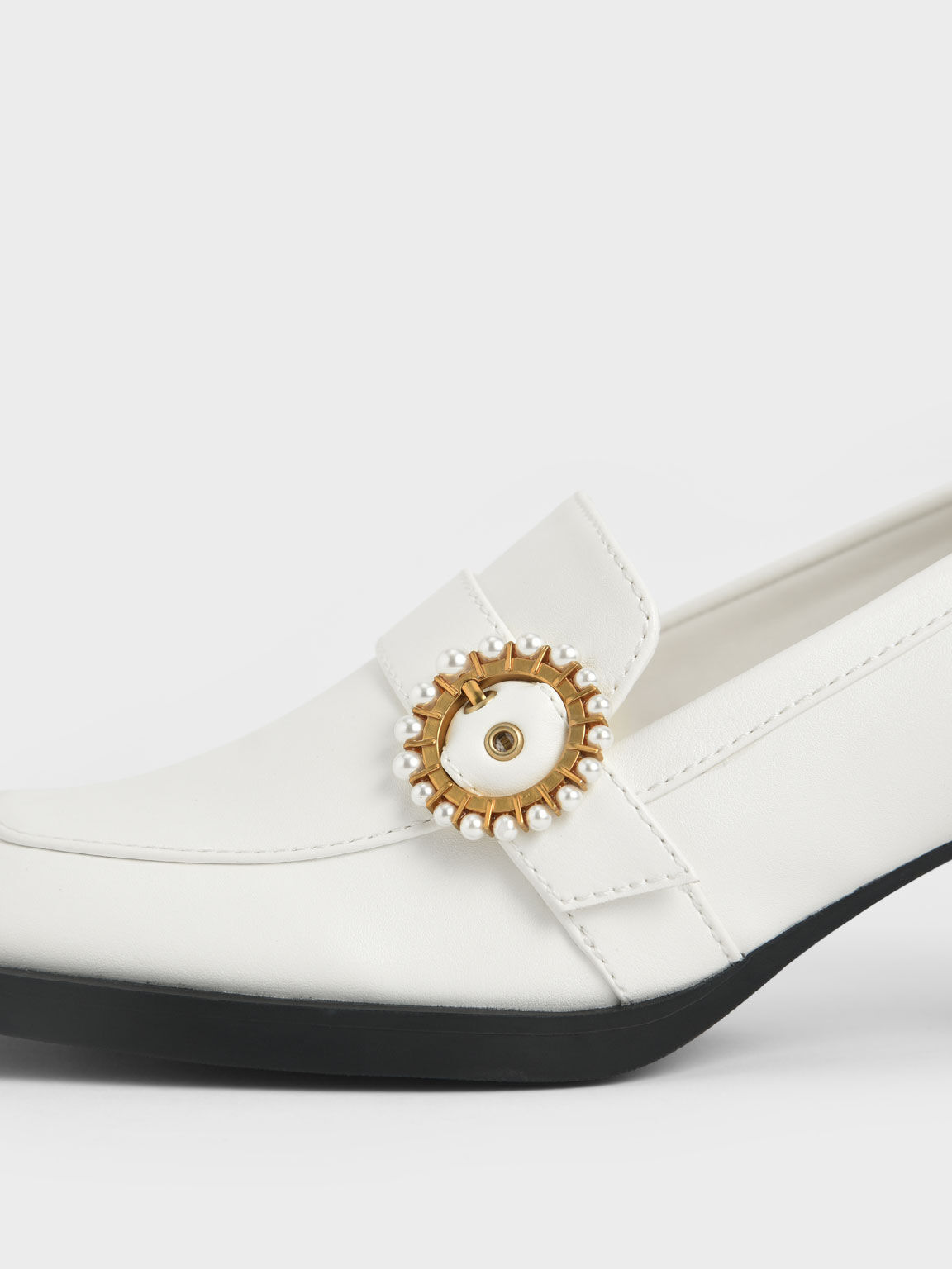 Beaded Accent Loafer Pumps, White, hi-res