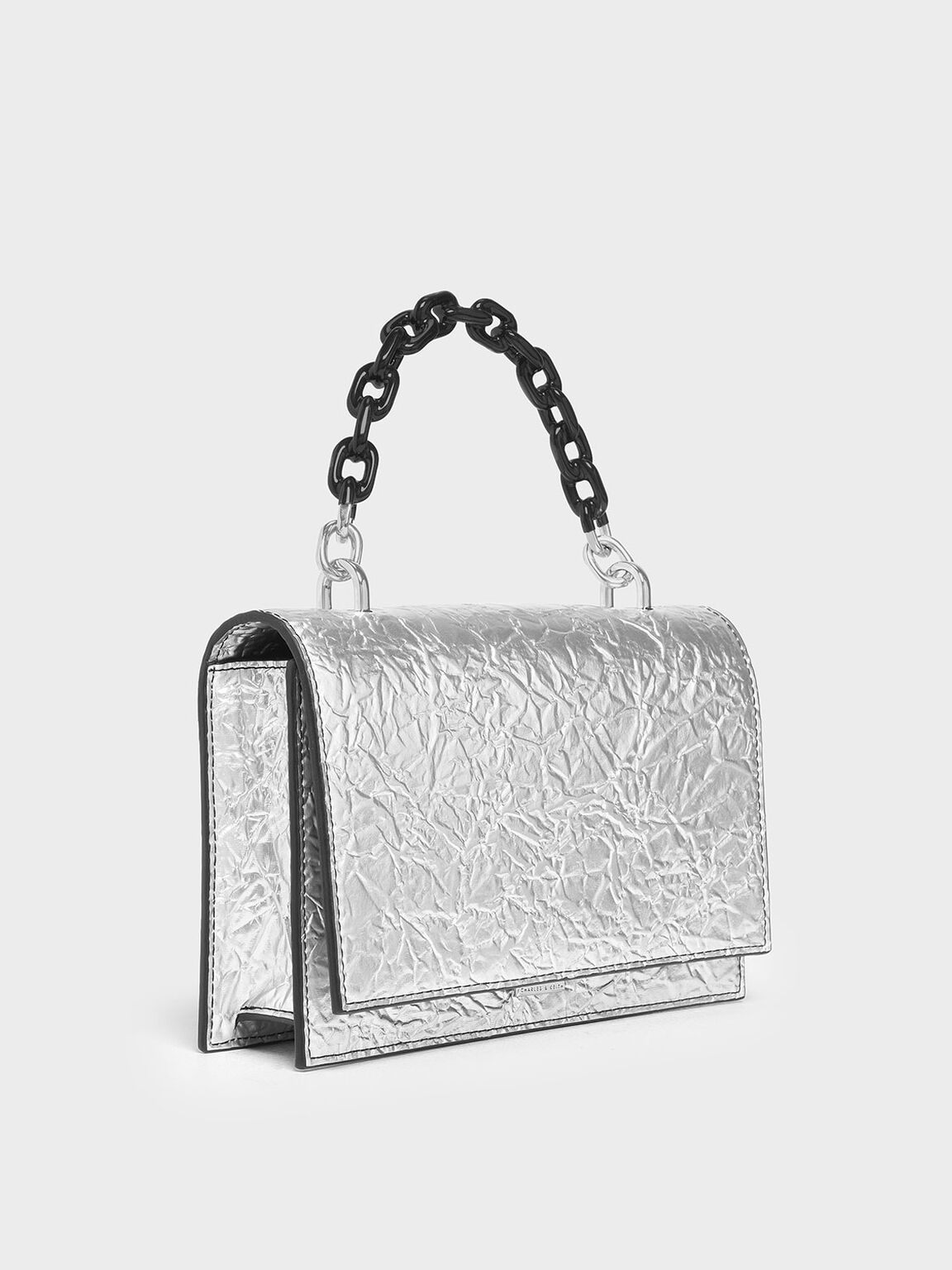 Single Chain Handle Push Lock Bag, Silver, hi-res