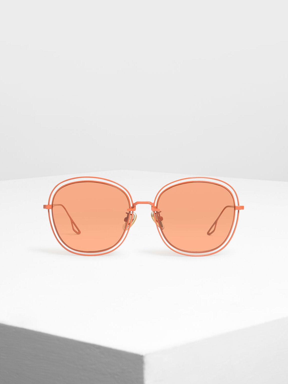 Double Wire Frame Shades, Orange, hi-res