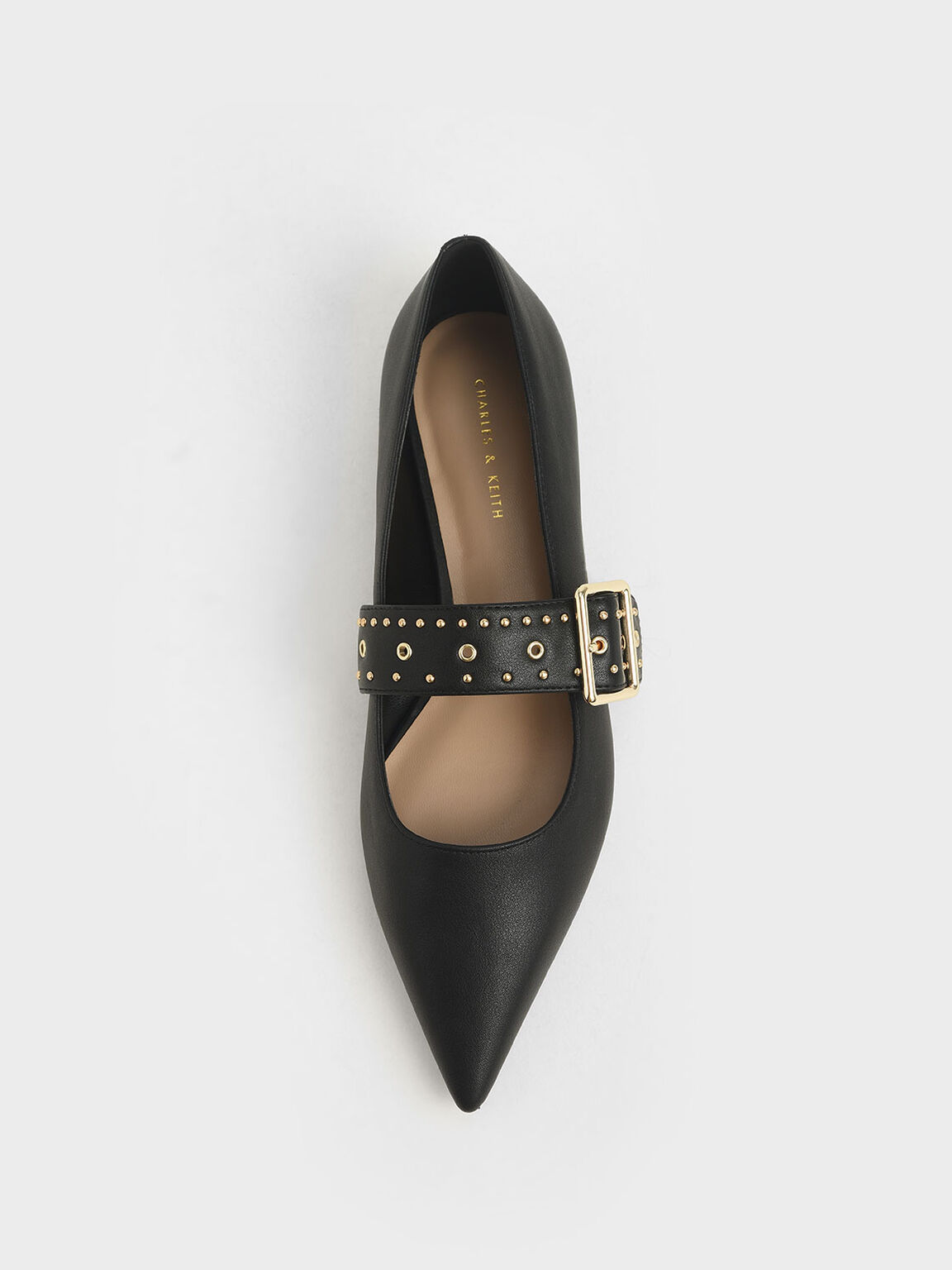 Studded Mary Jane Ballerina Flats, Black, hi-res
