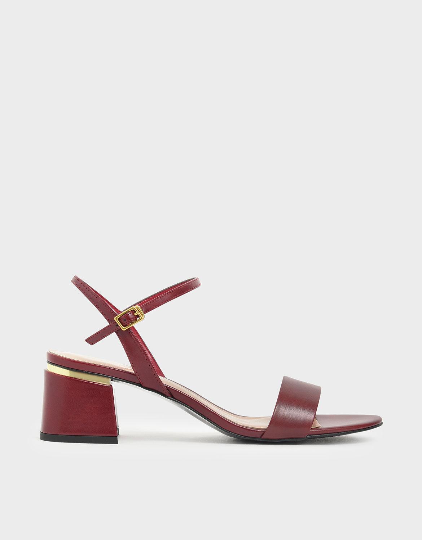 red open toe block heels
