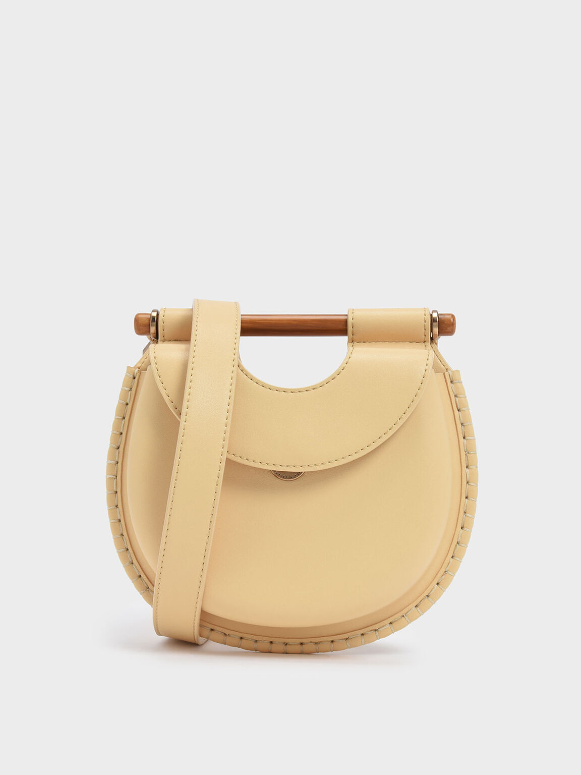 Wood-Effect Handle Whipstitch Trim Bag, Yellow, hi-res