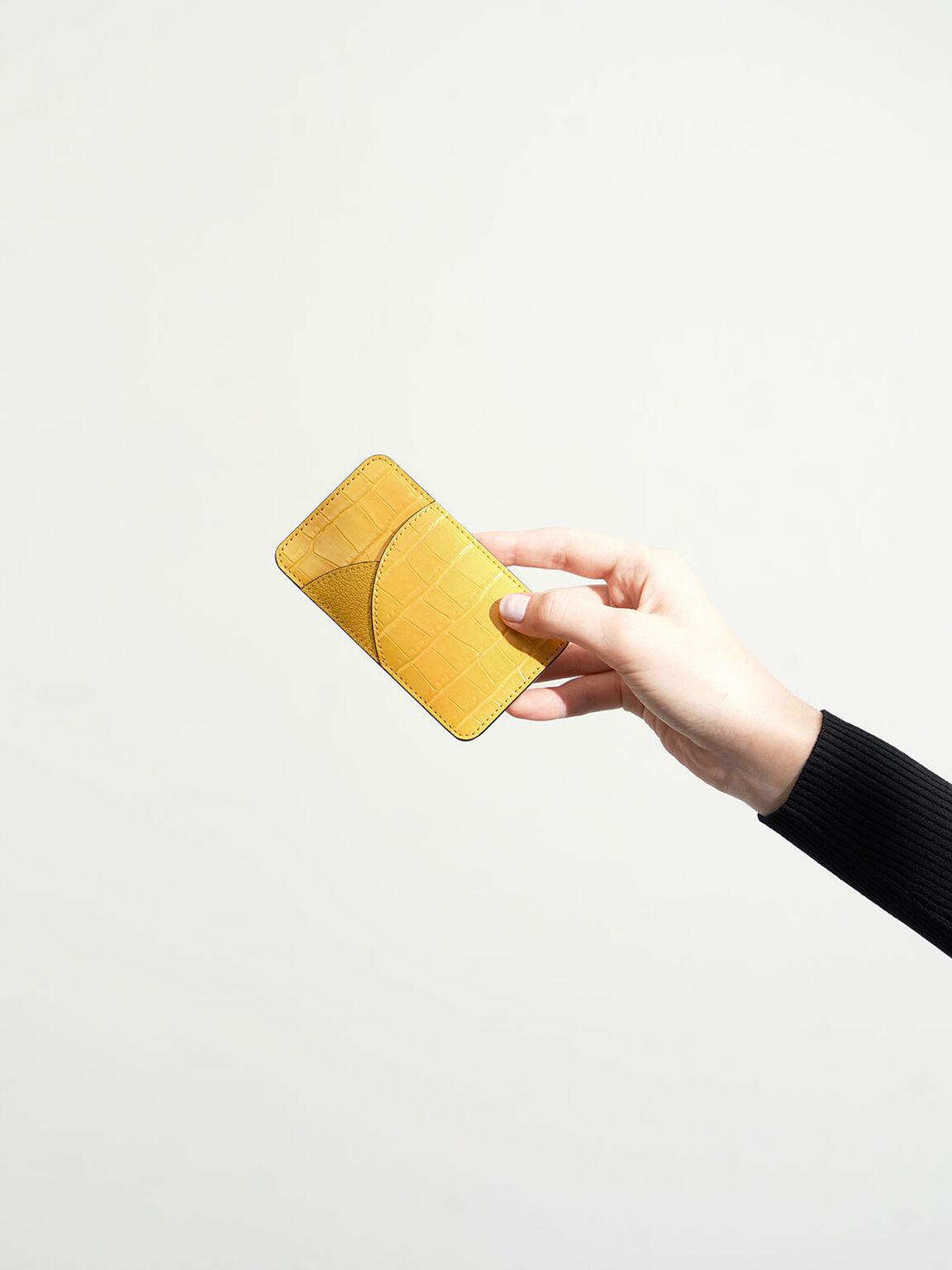 鱷魚紋弧線票卡夾, 黃色, hi-res