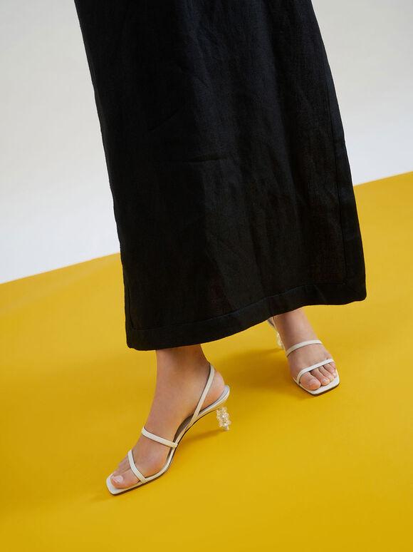 Geometric Heel Strappy Sandals, Chalk, hi-res