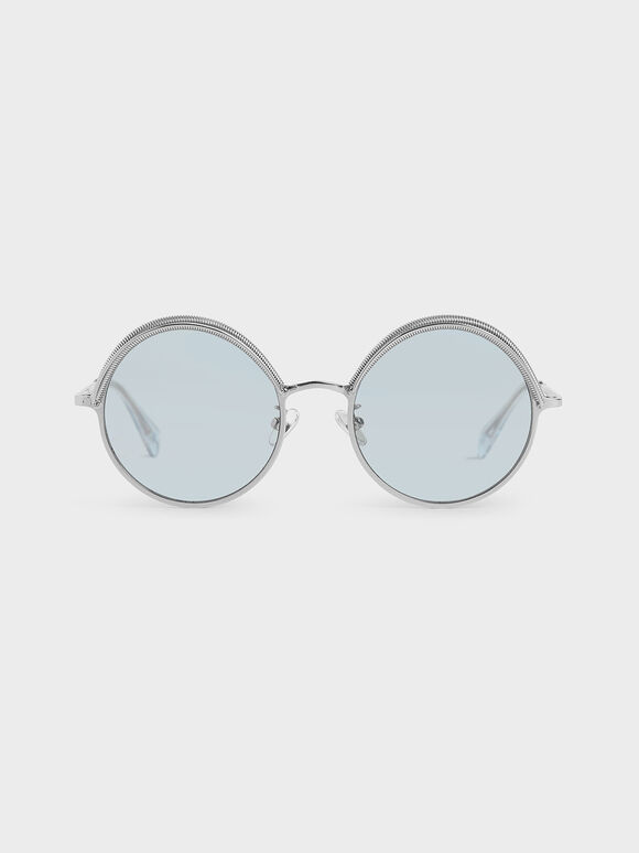 Half Rim Round Sunglasses, Blue, hi-res