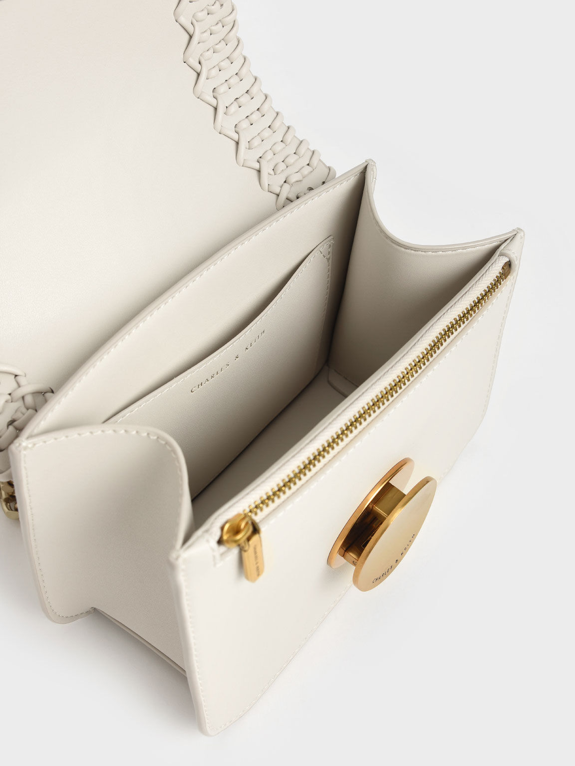 Woven Double Chain Handle Bag, Ivory, hi-res