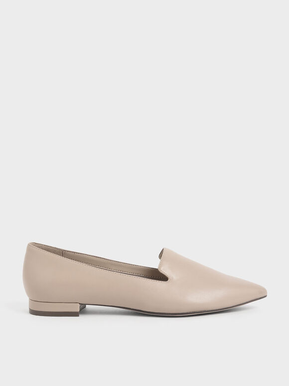 Pointed Toe Loafer Flats, Beige, hi-res