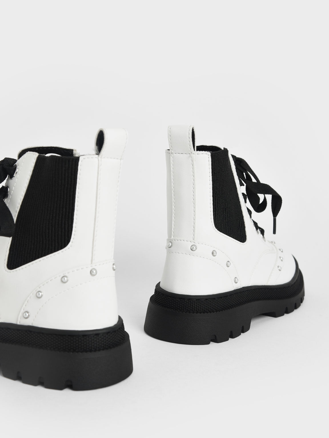 Girls' Studded Lace-Up Ankle Boots, White, hi-res