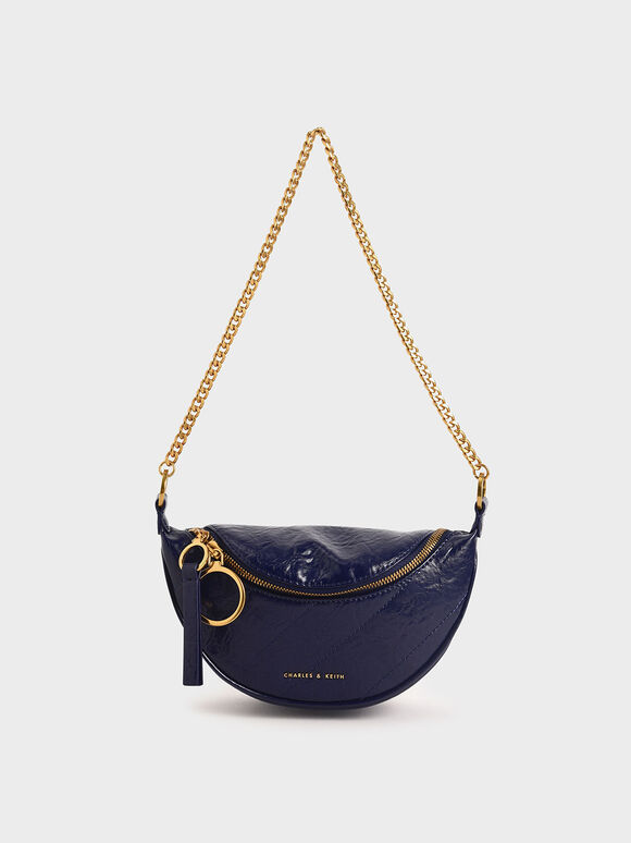 Half Moon Crossbody Bag, Dark Blue, hi-res