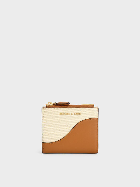 Two-Tone Top Zip Mini Wallet, Cognac, hi-res