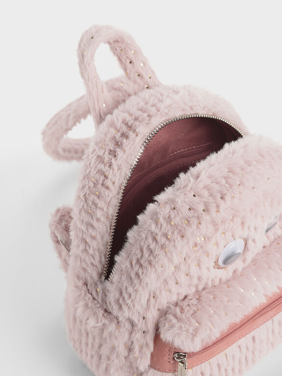 Girls' Furry Character Backpack, Light Pink